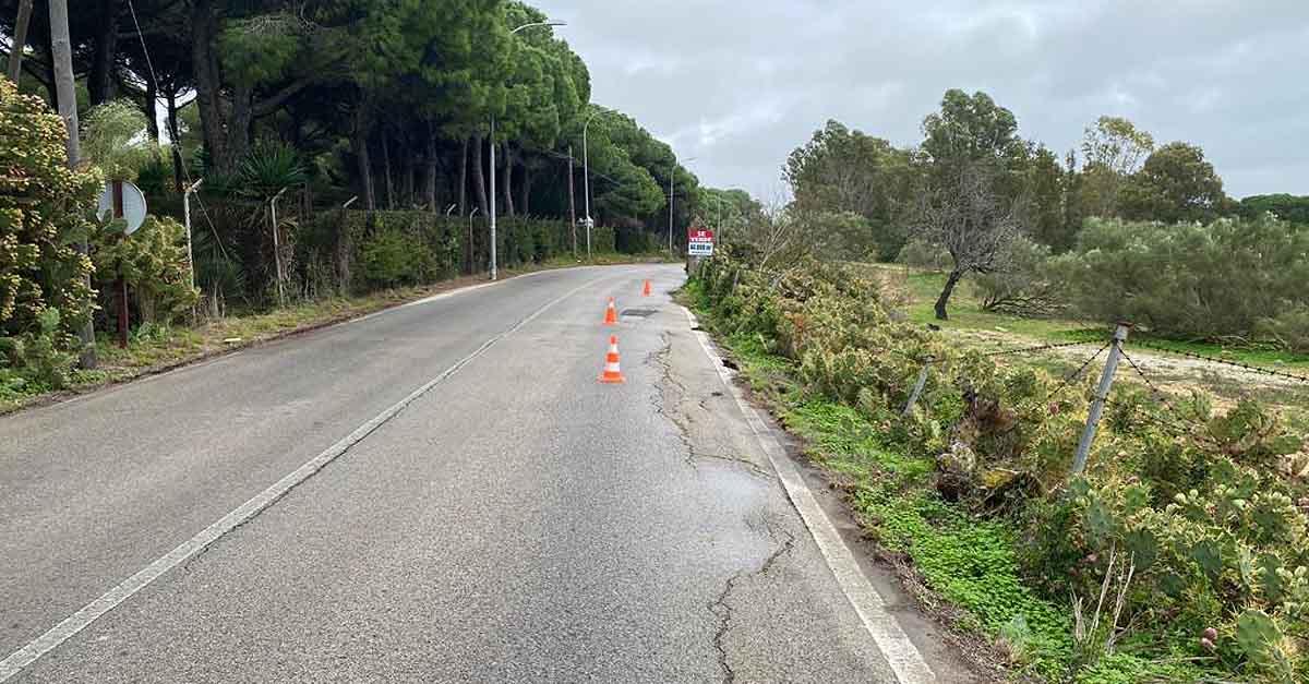 Cortado al tráfico el camino de la Hijuela del Tío Prieto por riesgo en la calzada