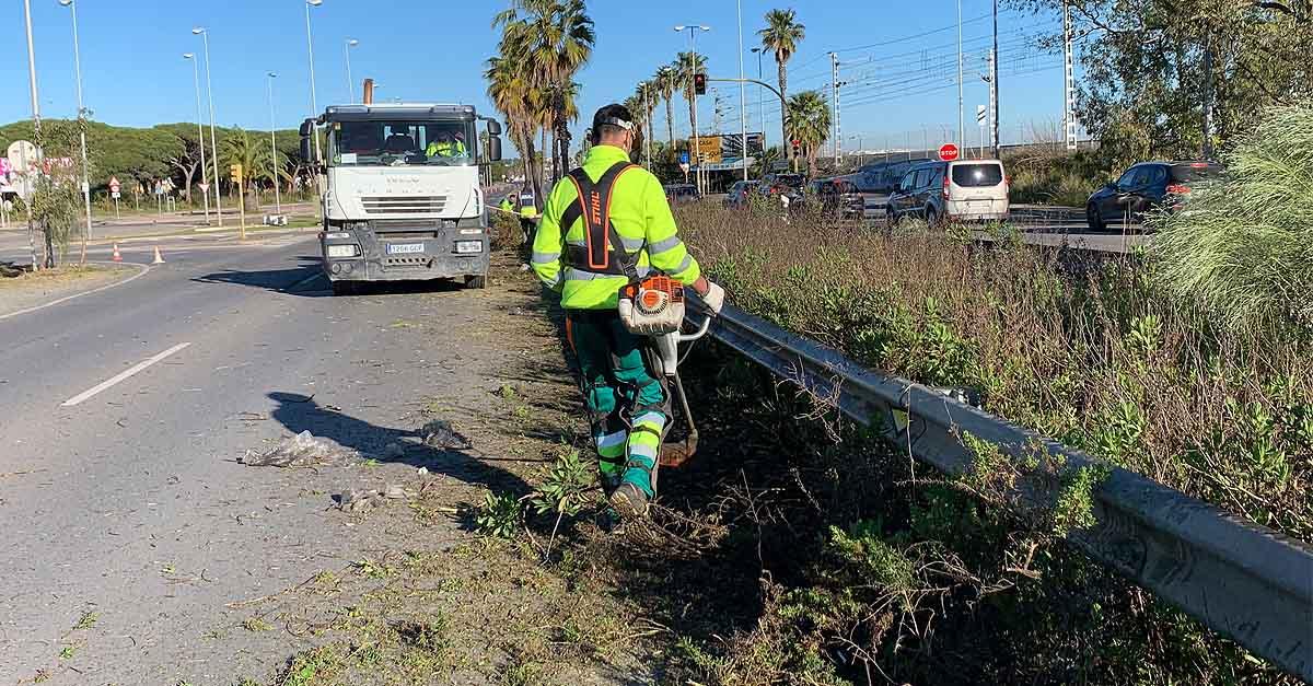 El Ayuntamiento realiza una limpieza integral de la mediana junto al Río San Pedro