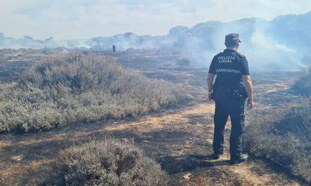 Bomberos extinguen un posible incendio intencionado en el parque de La Isleta