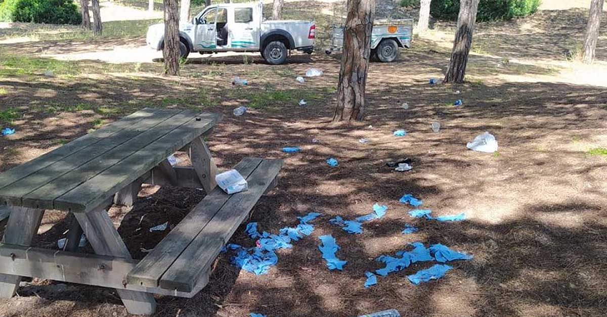 Guantes guantes desechables y botellas, incivismo en los pinares de El Puerto